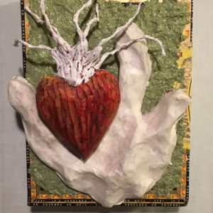 "Susan Mandl's mixed media artwork ""There You Have It"" in the Diner's Club exhibition"