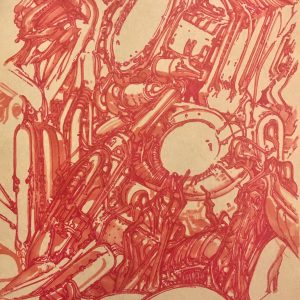 "William Hand's drawing ""Red Cybergenetic Field"" in the Diner's Club exhibition"