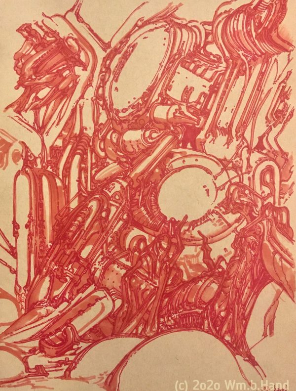 """William Hand's drawing """"Red Cybergenetic Field"""" in the Diner's Club exhibition"""