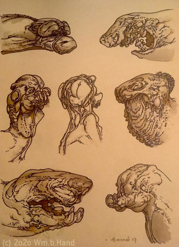 "William Hand's drawing ""Seven Creature Heads"" in the Diner's Club exhibition"