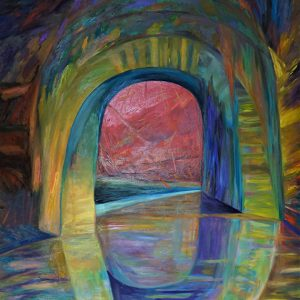 "Carolyn Grady's painting ""Portal #2: Entrance to Valhalla"" in the Adrift exhibition"