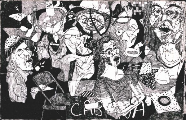 """Hannah Jeremiah's drawing """"Voices"""" in the Adrift exhibition"""