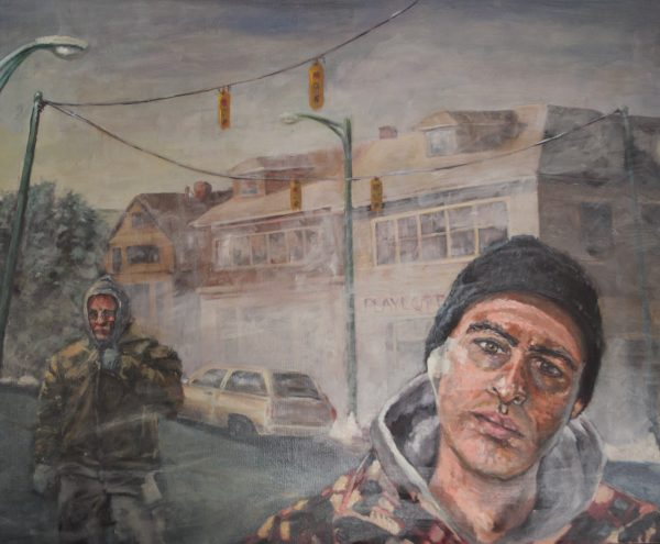 """Philip Palmieri's painting """"Out of Work in Buffalo"""" in the Adrift exhibition"""