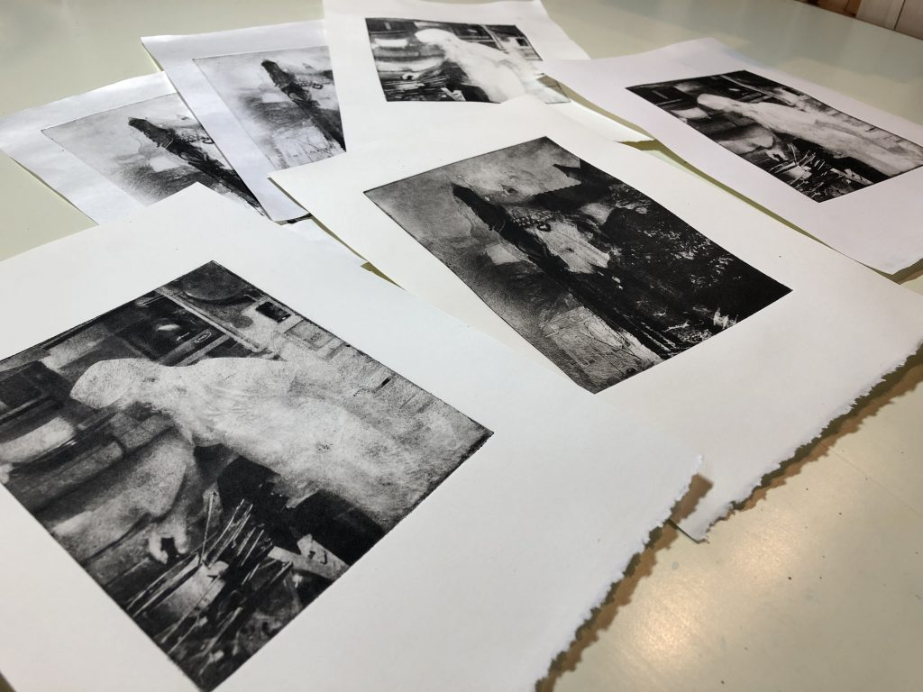 photo of photogravure prints by Michele Vair