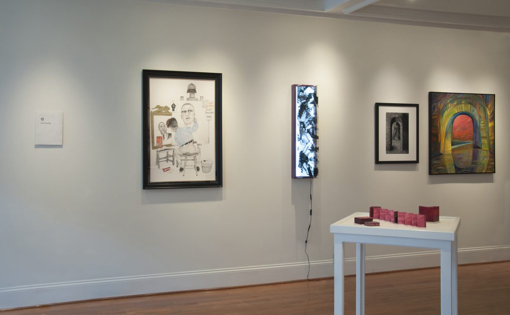 Installation shot of Adrift exhibition at Main Street Arts