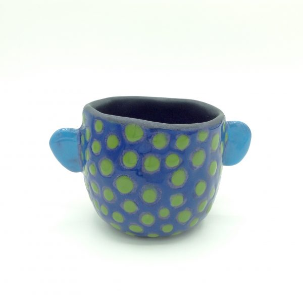Carrianne Hendrickson - Face Pot (Red and Blue with Green Dots)