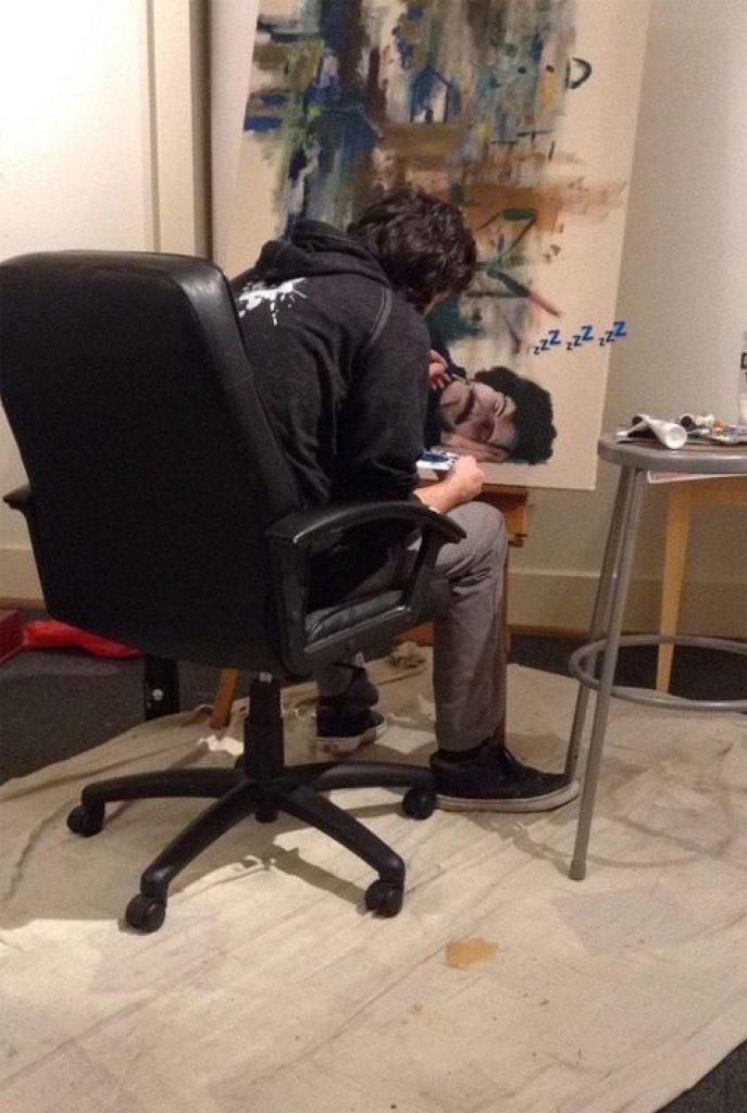 Artist working in art studio