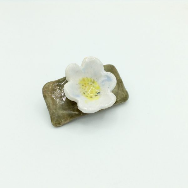 """White Flower Barrette"" (small) by Victoria Savka"