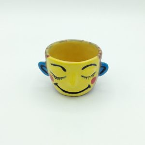 Carrianne Hendrickson - Face Pot (Yellow and Brown with Red Dots)